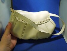Maxx New York QVC Purse White Leather Gold Studs & Leopard Inside Print 2 Straps