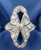 CZ Sapphire & Round Vintage Art Deco Antique Engagement Ring 925 Sterling Silver