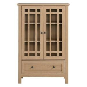 """Legacy Home 31.5"""" Transitional Wood Accent Cabinet with Drawer in Light Oak"""