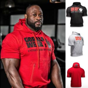 Gorilla Wear Short Sleeve Hoodie Sweatshirt Mens Gym Pullover Hoody Shirt Top AU