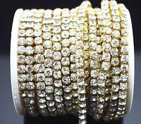 10 Yard Crystal Diamante Rhinestone Gold Chain Sewing Wedding Cake Decoration