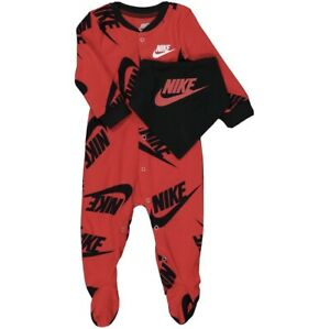 Nike Baby 2Pc Sleepsuit And Bib Red Black All In One 3 Months   62cm  Gift Set