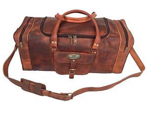 "Leather Large 30"" Men's Gym Duffel Overnight Luggage Travel Bag (Round Shape )"