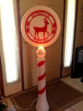 "Blow Mold  Vtg Lighted Xmas REINDEER PARKING 54"" Yard Decor"