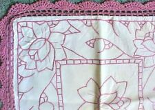 Pillow Top Machine Embroidered Floral Hand Crocheted Border Light Mauve 16 Inch