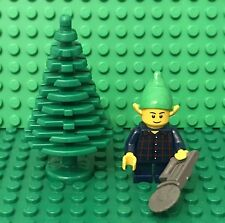 Lego Christmas Dark Blue Elf Plaid Shirt Mini Figure With Large Tree And Saw