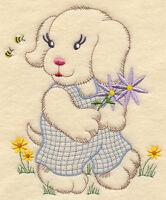 PUPPY & FLOWERS  (VINTAGE) --- MACHINE EMBROIDERED QUILT BLOCK (AZEB)