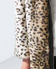 ZARA Woman Faux Fur Leather Leopard Coat S pelliccia leopardo zip cerniera
