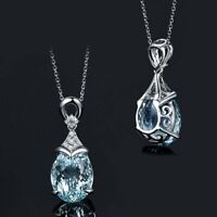 Gemstone Natural New Silver Vintage Chain Jewelry Aquamarine Pendant Necklace
