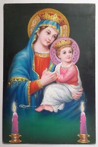 INDIAN VINTAGE ORIGINAL OLD CALENDAR ART PAINTING CHRISTIANITY - JESUS AND MARY