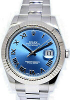 Rolex Datejust II Steel/18k WG Blue Roman Dial Mens 41mm Watch B/P 116334
