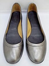 NEW LANVIN pewter leather ballet flats shoes Italian size 38.5