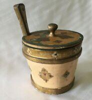 VTG Italy Florentine Ice Bucket Butter Biscuit Barrel Beige Guilt Wood Tole Box