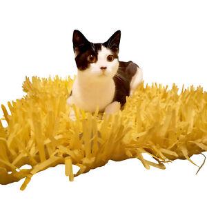 2x Yellow Tissue Paper Grass Mats for cat or kitten toy pet toys Interactive mat