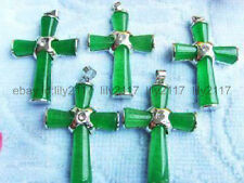 Wholesale 5Pcs Natural Green Jade Gemstone Cross Crucifix Pendant Necklace