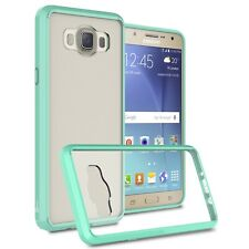 Hybrid Slim Fit Hard Back Case for Samsung Galaxy J7 (2016) J710 Teal / Clear