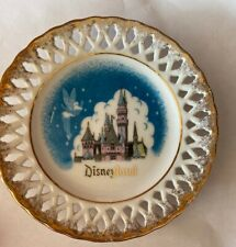 Disneyland Tinker Bell castle Souvenir Plate Gold Trim Japan 6 1/4 Inches