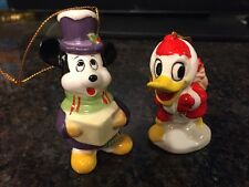 Vintage Disney Donald Duck & Mickey Mouse Christmas ORNAMENT ceramic JAPAN