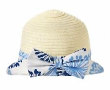Gymboree Baby Girl Blue Floral Bow Straw Paper Hat NWT Size 6-12 MONTHS