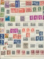 AUSTRALIA: 345 STAMPS ON OVERFLOWING VINTAGE ALBUM PAGES. EARLIEST TO 1960s