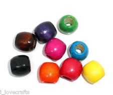 50 Misto Charm Perle Tubo in Legno Multicolori 16x17mm