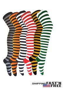 Women's Ladies Zebra Striped Thigh High Socks Extra Long Cotton Thick Socks