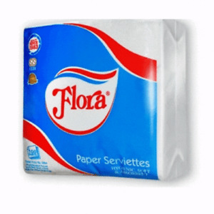 Flora Paper Serviette 1 Ply 100 Sheets Towel Napkin Tissue Cleaning Hygienicsoft