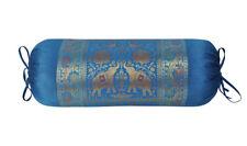 Silk Bolster Cushion Pad Brocade Blue Sofa Massage Yoga Bolster Pillow Covers