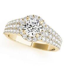 NEW LADIES 14k YELLOW GOLD SEMI-MOUNT ROUND DIAMOND TRIPLE ROW ENGAGEMENT RING