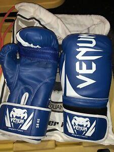 Venom Boxing MMA UFC Blue white Gloves 16 oz w/ century gym bag