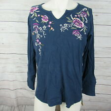 Style & Co 0X Top Womens Navy Cotton Embroidered Thermal Shirt Plus Size