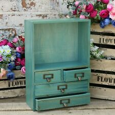 Small Storage Drawer Cabinet Rustic Wood Free Standing Unit Makeup Perfume NEW
