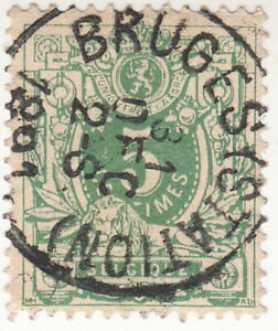 Belgium 1884. 5c centimes. Green. Stamped: Bruges Dec 31 1891. Used