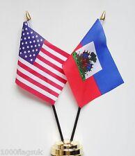 United States of America & Haiti State Crest Double Friendship Table Flag Set