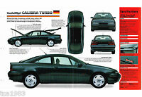 Vauxhall / Opel CALIBRA TURBO SPEC SHEET / Brochure: 1992,1993,......