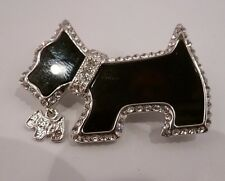 SCOTTY SCOTTISH TERRIER W/PUPPY BLACK ENAMEL, RHINESTONES SILVER TRIM BROOCH PIN