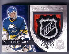 08/09 UD THE CUP DOMINIK HASEK / RYAN MILLER DUAL NHL SHIELD LOGO PATCH 1/1