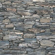 Charcoal Natural Stone Brick Wall Wallpaper Debona 1281 Moroccan Cornish Country