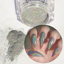 Poudre Laser Holographique Paillettes à Ongles Rainbow Pigment Manucure Chrome