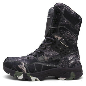 Mens Camouflage Lace Up High Top Shoes Desert Military Tactical Ankle Boots Plus