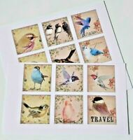 15-45 PRE-CUT SCRAPBOOKING CRAFT CARD TOPPERS EMBELLISHMENTS VINTAGE BIRDS 2