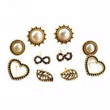 5 Pairs/Set Boho Women Infinity Heart Pearl Leaf Ear Studs Earrings Jewelry Set