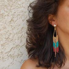 Boucles d'oreilles fantaisie pendantes femme chic tendance chaine couleur boho