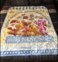 Vintage Winnie The Pooh & Piglet Acrylic Baby Blanket Throw