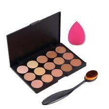 3st/set 15 kleuren Concealer palet make-up + ovale mengen borstel + spons