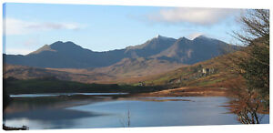 Snowdonia from Plas-y-Brenin Lake Wales Panorama Canvas Wall Art Picture