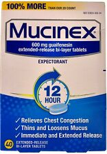 Mucinex 600mg 12hr Expectorant 40 Extended Release Tablets Exp 2/2022+ DENTED