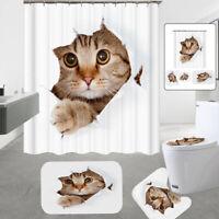 3D Cat Waterproof Bathroom Shower Curtain Carpet Rug Bath Mat Toilet Cover Set