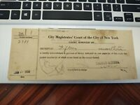 Vintage summons receipt from City Magistrates Court of the City of New York 1959