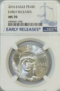 NGC MS70 Early Releases 2016 $100 Eagle Platinum.! GEM BU.!
